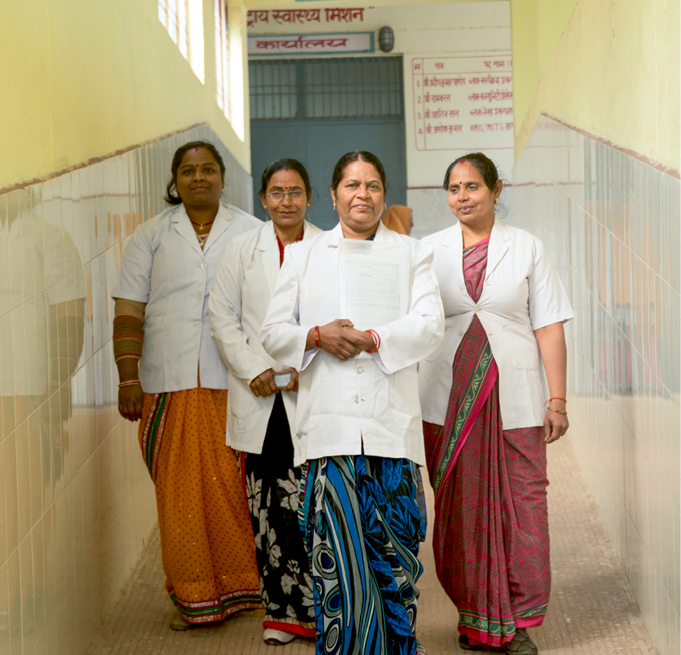 A team of birth attendants walk through their facility in Uttar Pradesh.